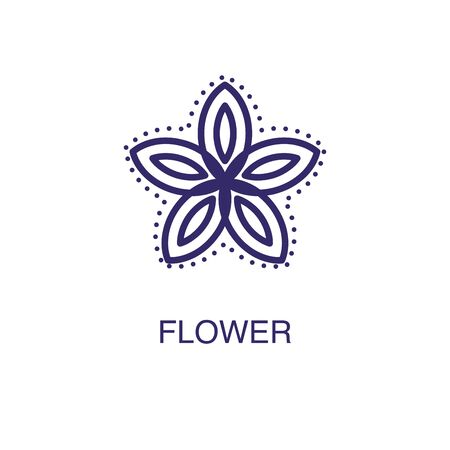 Flower element in flat simple style on white background. Flower icon, with text name concept template Ilustração
