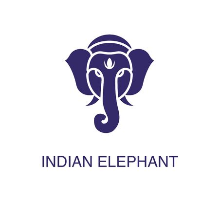 Indian elephant element in flat simple style on white background. Indian elephant icon, with text name concept template Ilustração