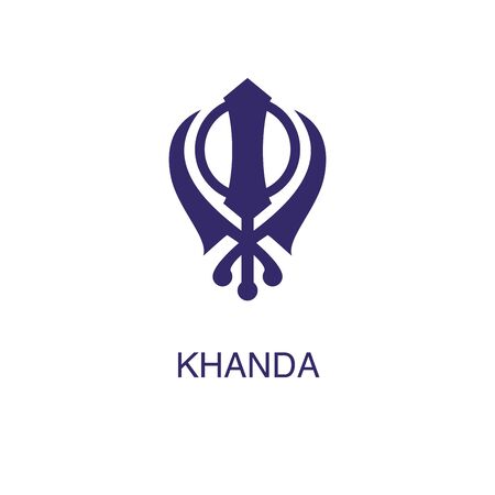 Khanda element in flat simple style on white background. Khanda icon, with text name concept template Ilustração