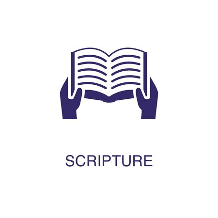 Scripture element in flat simple style on white background. Scripture icon, with text name concept template