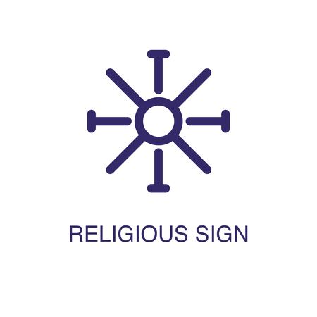 Religious sign element in flat simple style on white background. Religious sign icon, with text name concept template Ilustração