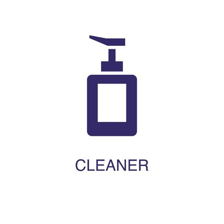 Cleaner element in flat simple style on white background. Cleaner icon, with text name concept template Stock Illustratie