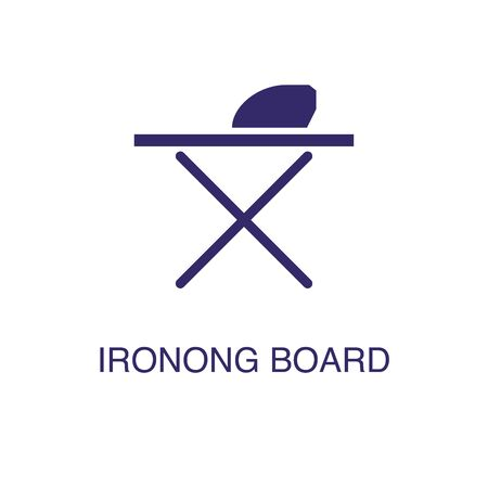 Ironing board element in flat simple style on white background. Ironing board icon, with text name concept template