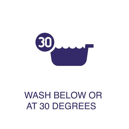 Wash below or at 30 degrees element in flat simple style on white background. Wash below or at 30 degrees icon, with text name concept template Ilustração