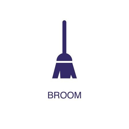 Broom element in flat simple style on white background. Broom icon, with text name concept template Vettoriali