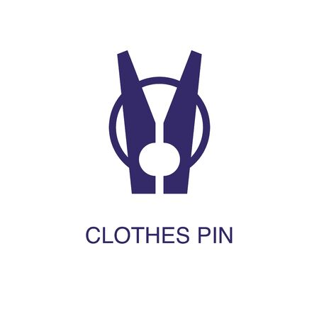 Clothes pin element in flat simple style on white background. Clothes pin icon, with text name concept template
