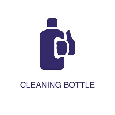 Cleaning bottle element in flat simple style on white background. Cleaning bottle icon, with text name concept template