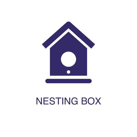 Nesting box element in flat simple style on white background. Nesting box icon, with text name concept template