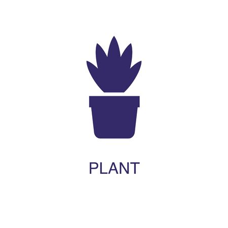 Plant element in flat simple style on white background. Plant icon, with text name concept template