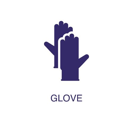 Glove element in flat simple style on white background. Glove icon, with text name concept template 일러스트