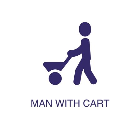 Man with cart element in flat simple style on white background. Man with cart icon, with text name concept template Illustration