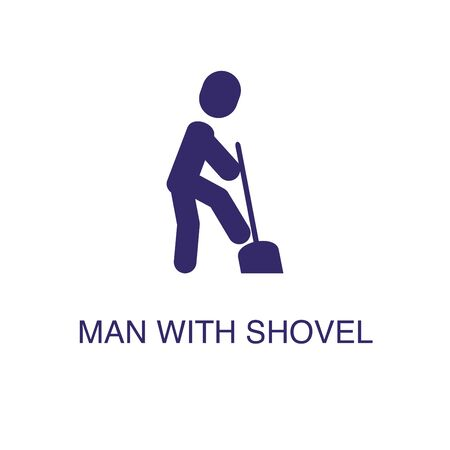 Man with shovel element in flat simple style on white background. Man with shovel icon, with text name concept template