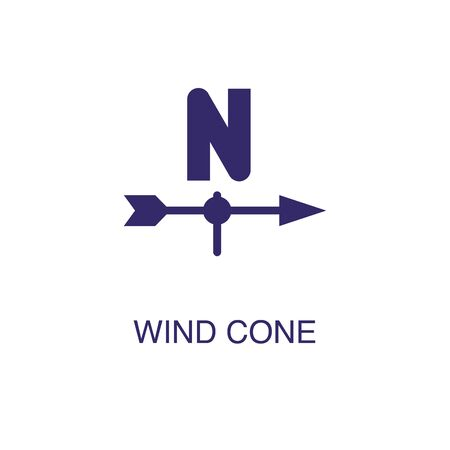Wind cone with fence element in flat simple style on white background. Wind cone with fence icon, with text name concept template