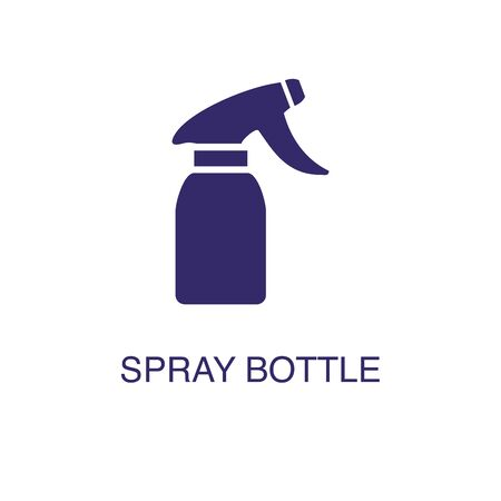 Spray bottle element in flat simple style on white background. Spray bottle icon, with text name concept template