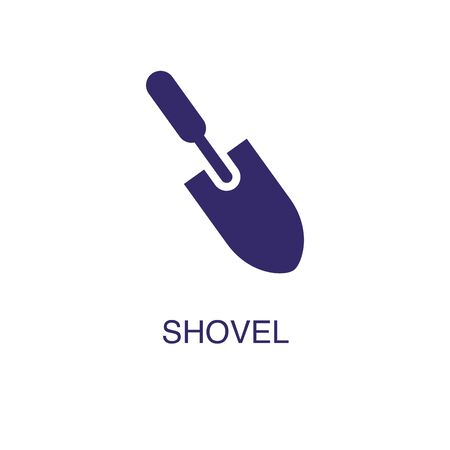 Shovel element in flat simple style on white background. Shovel icon, with text name concept template Ilustração