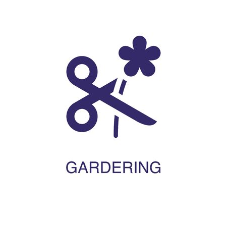 Gardering element in flat simple style on white background. Gardering icon, with text name concept template