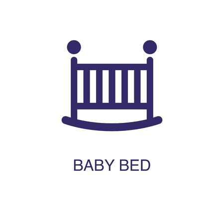 Baby bed element in flat simple style on white background. Baby bed icon, with text name concept template  イラスト・ベクター素材