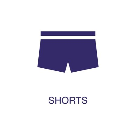 Shorts element in flat simple style on white background. Shorts icon, with text name concept template