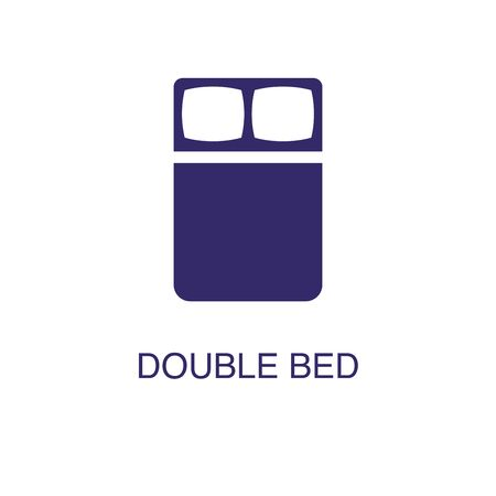 Double bed element in flat simple style on white background. Double bed icon, with text name concept template  イラスト・ベクター素材
