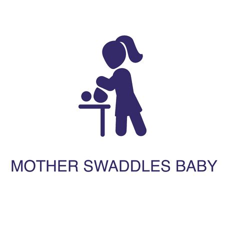 Mother swaddles baby element in flat simple style on white background. Mother swaddles baby icon, with text name concept template