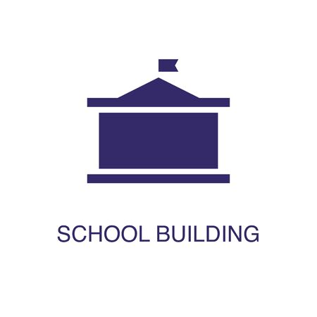 School building element in flat simple style on white background. School building icon, with text name concept template Standard-Bild - 134180579