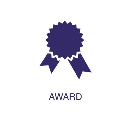 Award element in flat simple style on white background. Award icon, with text name concept template