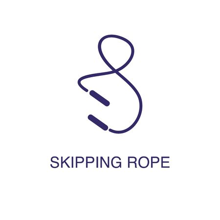 Skipping rope element in flat simple style on white background. Skipping rope icon, with text name concept template