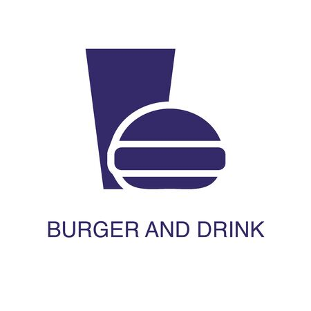 Burger and drink element in flat simple style on white background. Burger and drink icon, with text name concept template Ilustração