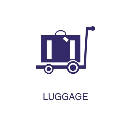Luggage element in flat simple style on white background. Luggage icon, with text name concept template