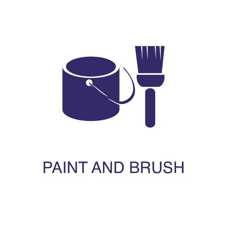 Paint brush and bucket element in flat simple style on white background. Paint brush and bucket icon, with text name concept template