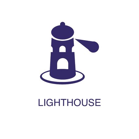 Lighthouse element in flat simple style on white background. Lighthouse icon, with text name concept template