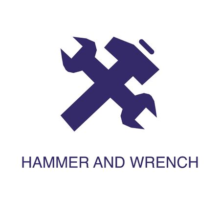 Hammer and wrench element in flat simple style on white background. Hammer and wrench icon, with text name concept template
