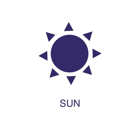 Sun element in flat simple style on white background. Sun icon, with text name concept template Illustration
