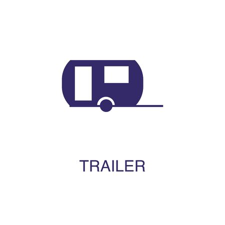 Trailer element in flat simple style on white background. Trailer icon, with text name concept template