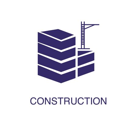 Construction element in flat simple style on white background. Construction icon, with text name concept template