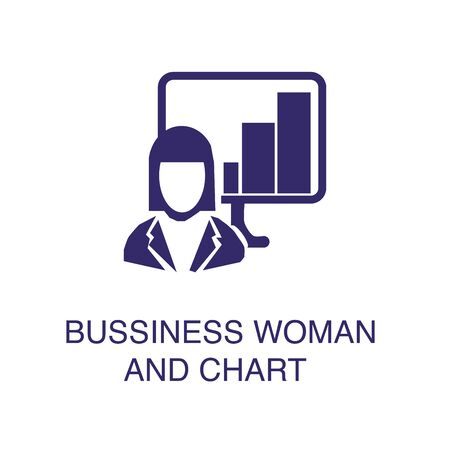 Businesswoman and chart element in flat simple style on white background. Businesswoman and chart icon, with text name concept template
