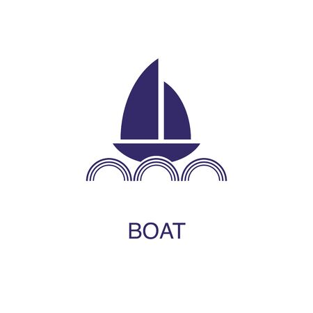 Boat element in flat simple style on white background. Boat icon, with text name concept template