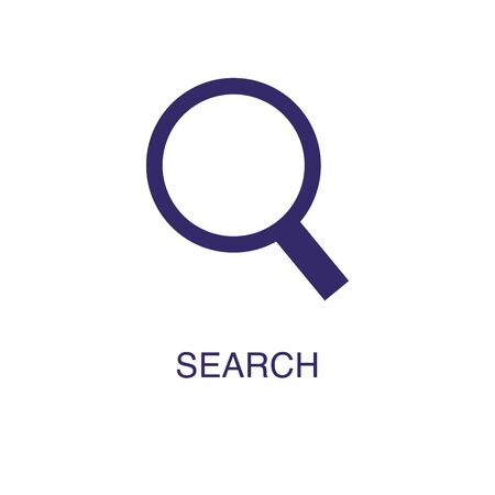 Search element in flat simple style on white background. Search icon, with text name concept template