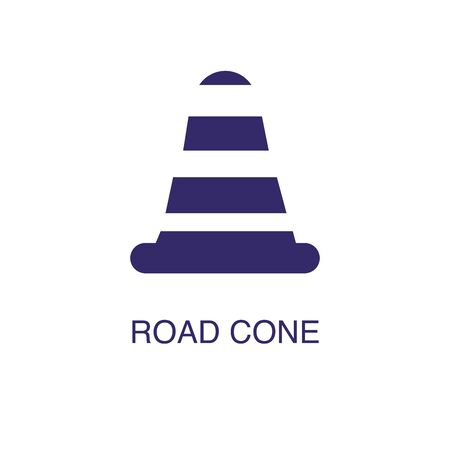 Warning cone element in flat simple style on white background. Warning cone icon, with text name concept template