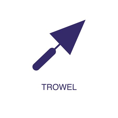 Trowel element in flat simple style on white background. Trowel icon, with text name concept template Illustration