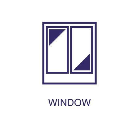 Window element in flat simple style on white background. Window icon, with text name concept template