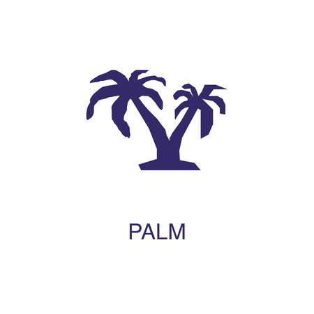 Palm element in flat simple style on white background. Palm icon, with text name concept template Illustration