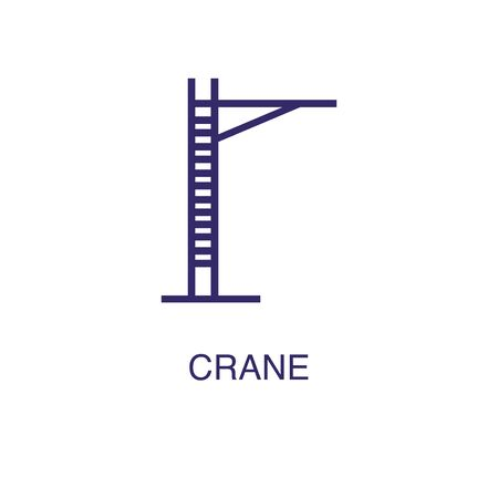 Crane element in flat simple style on white background. Crane icon, with text name concept template