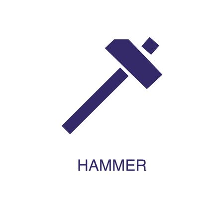 Hammer element in flat simple style on white background. Hammer icon, with text name concept template Illustration