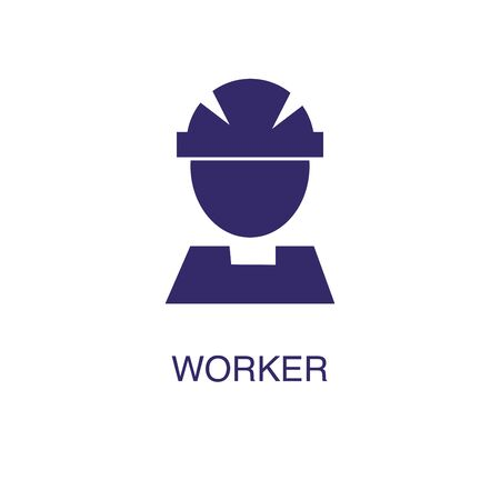 Worker element in flat simple style on white background. Worker icon, with text name concept template