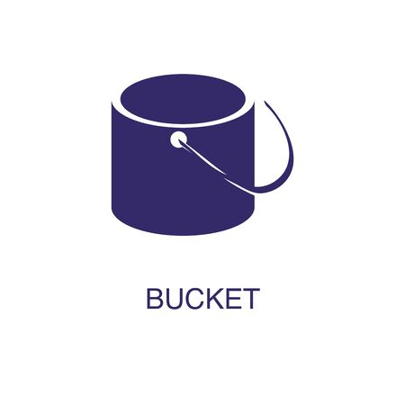 Bucket element in flat simple style on white background. Bucket icon, with text name concept template