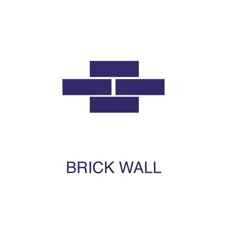 Brick wall element in flat simple style on white background. Brick wall icon, with text name concept template Illustration