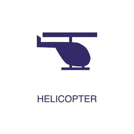 Helicopter element in flat simple style on white background. Helicopter icon, with text name concept template