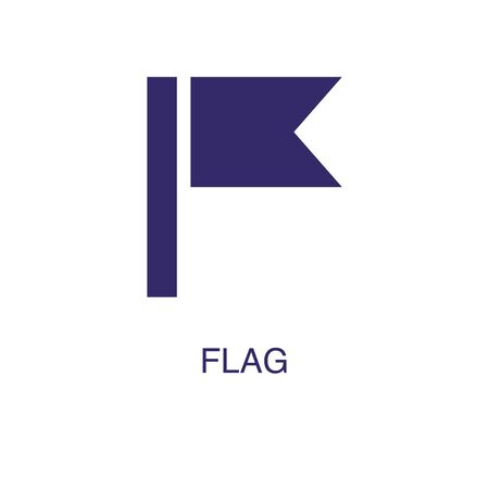 Flag element in flat simple style on white background. Flag icon, with text name concept template