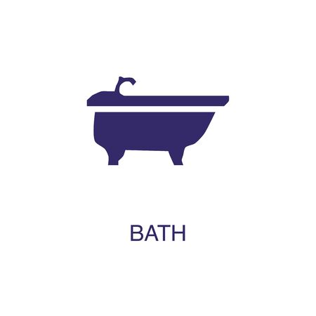Bath element in flat simple style on white background. Bath icon, with text name concept template